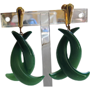 SALE RARE Vendome 1960's Faux Jade Lucite Boomerang Earrings