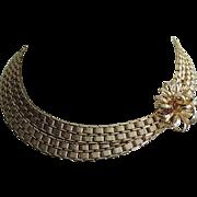 SALE Napier 1960's Gold Plated Link 3D Flower Collar Necklace