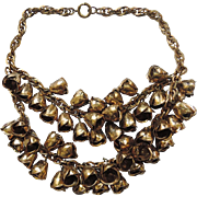 EARLY Miriam Haskell Double Strand Brass Rosebud 3D Necklace
