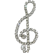 Kramer of New York Sterling G-Clef Musical Note Brooch