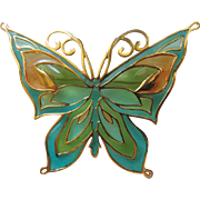 SALE PENDING Trifari Plique-a-jour Butterfly Brooch