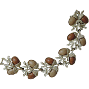 Coro 1950's Acorn Thermoset Whitewashed Bracelet