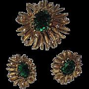 RARE Boucher 1968 Sea Anemone Molded Glass Brooch & Earring Set