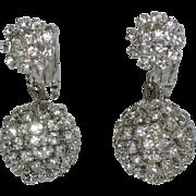 SALE 1960's Rhinestone Ball Drop Earrings