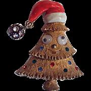 SOLD RARE JJ Googly Eyed Santa Claus Cap Christmas Tree Pin ~ Book Piece