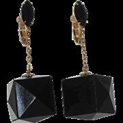 1960's Black 3D Cube Pyramid Cut Drop Earrings