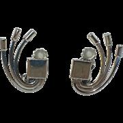 RARE Sauteur Renoir Sterling Mid Century Modern Atomic Earrings ~ Book Piece