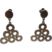 SALE Accessocraft N.Y.C. 1960's Modernist Circle Triangle Drop Earrings