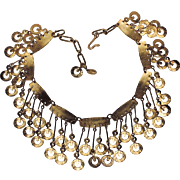 SALE Vendome 1967 Bolder Than Gold Modernist Bib Runway Necklace ~ RARE