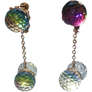 REDUCED RARE Vendome 1960's 3D Double Crystal Ball Drop Earrings