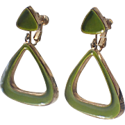 SALE Vendome 1960's Mod Lime Green Enamel Triangle Drop Earrings