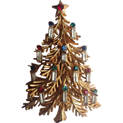 REDUCED 3D Layered Christmas Tree Pin with 14 Baguette Candles, Book Piece