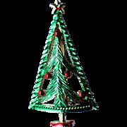 BJ Signed Mid-Century Pine Conifer Christmas Tree Pin ~ Book Piece