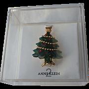 SALE Anne Klein 2 Designer Christmas Tree Pin in Original Box ~ Book Piece