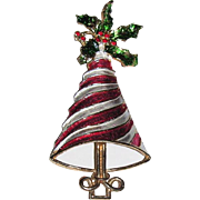 SALE RARE Mylu Peppermint Stripe & Holly Christmas Tree Pin ~ Book Piece