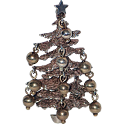 SOLD RARE Cini Sterling Brutalist Dangling Ornaments Christmas Tree Pin ~ Book Piece