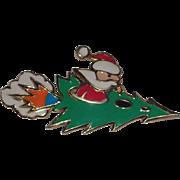 SALE PENDING RARE Edgar Berebi Santa Claus Rocket Christmas Tree Pin ~ Book Piece