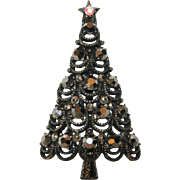 SALE RARE Pakula Japanned Gunmetal Hematite 3D Christmas Tree Pin ~ Book Piece
