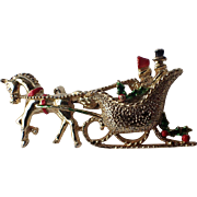 SALE PENDING Gerry's Signed Horse Drawn Christmas Sleigh Pin ~ Book Piece