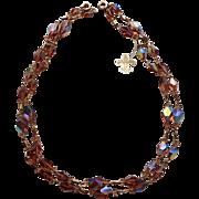 SALE RARE Vendome 1960's Brown Topaz AB Gammatic Crystal Necklaces ~ Hang Tag