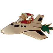 SALE RARE Edgar Berebi Santa Claus Space Shuttle Christmas Tree Pin, Book Piece