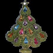 SALE RARE Lisner Signed Mid-Century Enameled Christmas Tree Pin, Book Piece