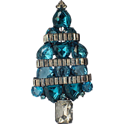 SOLD RARE Blue Hearts Clear Baguette Garland Christmas Tree Pin, Book Piece