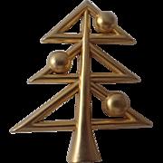 SOLD SCARCE Molyneaux Paris Gilt 1975 Modernist Christmas Tree Pin