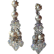 SALE Vendome 1960's Chandelier Earrings, Crystal, Rhinestone Rondelles, Faux Pearls