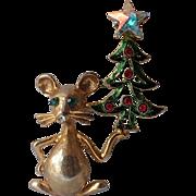 RARE Tancer II Mouse Christmas Tree Pin, Book Piece