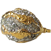 REDUCED Vendome 1968 Gold Nugget Rhinestone Cocktail Ring ~ Magazine Ad Piece!