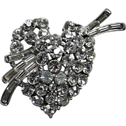 SALE 1940's Heart Rhinestone Pot Metal Pendant or Sew-On