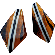 Art Deco Bakelite Tortoise Striped Kite Earrings