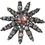 1950's Japanned Atomic Space Age Starburst Brooch