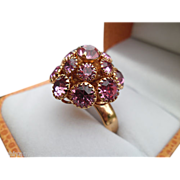 SALE Sarah Coventry 1960's Pink Champagne Rhinestone Cocktail Ring ~ Adjustable