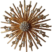 Vendome 1950's Atomic Space Age 3D Starburst Brooch