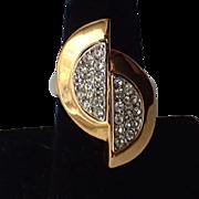 Napier 1970's Split Oval Rhinestone Cocktail Ring, Size 7