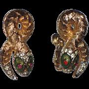 REDUCED Napier 1960's Egyptian Revival Snake Earrings