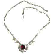 1950's Clear Rhinestone & Red Glass Cabochon Valentine/Christmas Necklace