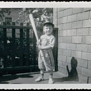 1949 Vintage B&W Photograph ~ Little Boy in Red Sox Baseball Uniform