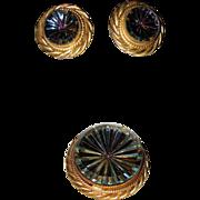 SALE RARE 1960's Hattie Carnegie Pinwheel Glass Brooch/Pendant & Earrings ~ Original Box