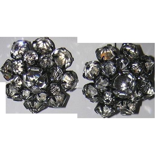 Kramer of New York Reverse Set Stones in Japanned Setting ~ Earrings