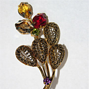 SALE Austria 1960's Signed 3D Floral Rhinestone Brooch