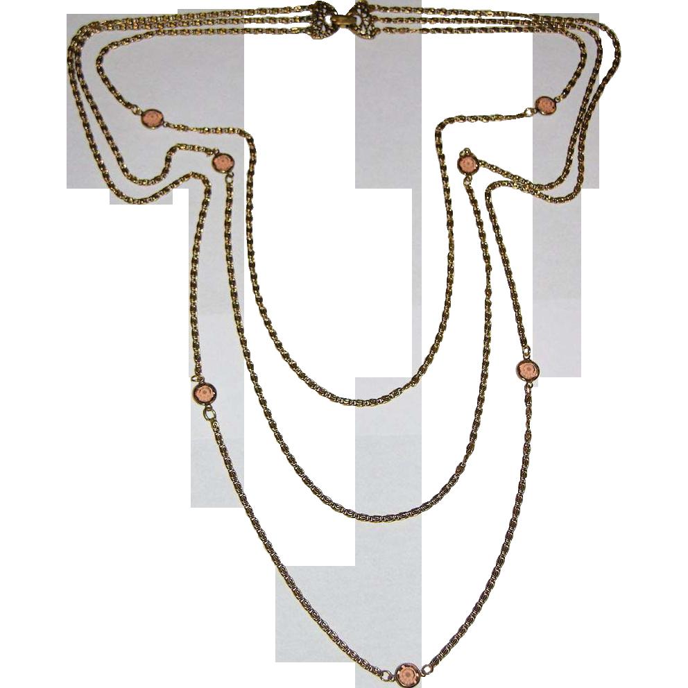Goldette Topaz Crystal 3-Strand Sautoir Necklace