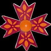 1960's Orange & Fuchsia Pink Enameled Metal Flower 3D Brooch