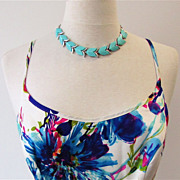 Tulip Aqua Green 1950's Thermoset Necklace