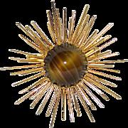 Austria 1950's Tiger Eye Art Glass Atomic Starburst Brooch