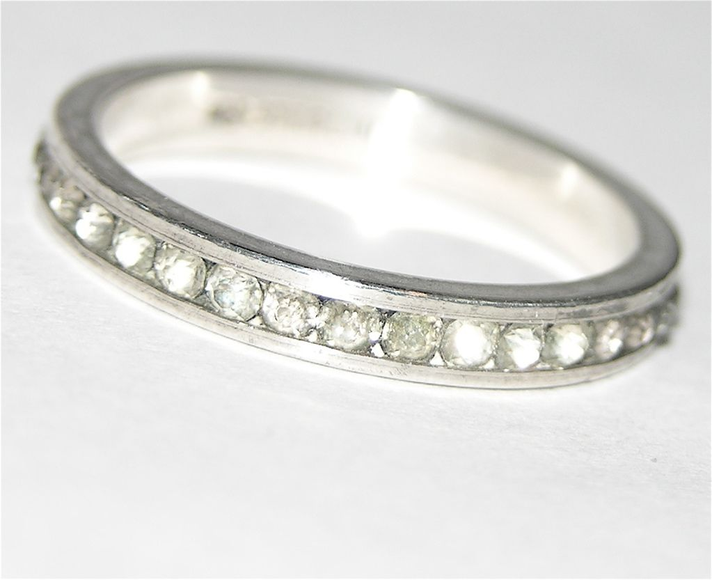 Uncas Sterling Silver Clear Rhinestone Eternity Ring ~ Size 5
