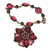 SALE Kramer of New York Heart Fuchsia Pink Crystal 3D Flower Charm Bracelet