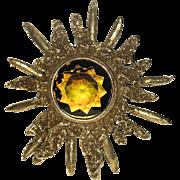 Accessocraft N.Y.C. Topaz-Peridot Glass Modernist Starburst Pin/Pendant